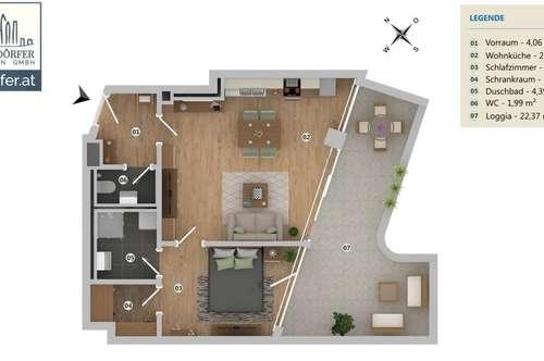 22 m² LOGGIA * 2 RUHIGE ZIMMER * WERDERTORGASSE * 10 JAHRE BEFRISTUNG MÖGLICH + SOFORT BEZIEHBAR