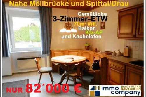 Nahe Möllbrücke und Spittal/Drau wartet eine gemütliche Eigentumswohnung auf ihren neuen Besitzer
