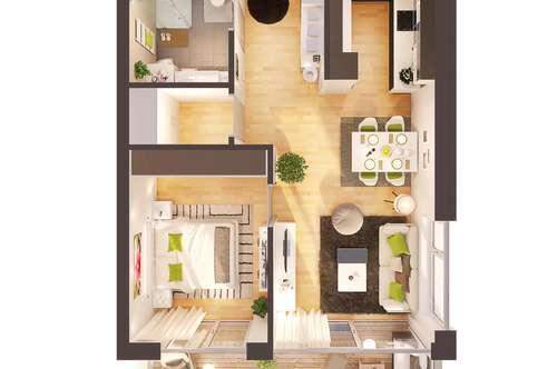 Provisionsfreie hochwertige 2-Zimmer Neubau-Wohnung mit Balkon