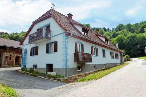 Bauernhof mit Wiese/Obst/Acker/Wald