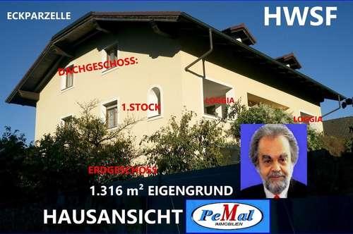 WIENGRENZE nur 15 km in MARGARETHEN am MOOS (2433) grosses NEUBAU-EFH (auch für 2 Familien), nähe SCHLOSS MARGARETHEN, WNFL.: 290 m²(EG+1.STOCK) +VOLLKELLER+DG AUSBAU vorgerichtet (9Zi.,3Bäder,5WC+NR) 1.316 m² EIGENGRUND, BJ 1996/Fertigst. 2001,HWSF