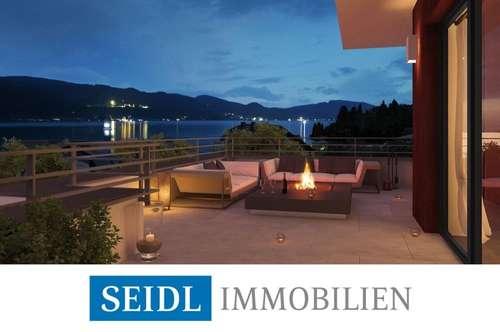 Velden: Seeblick-Wohnung mit Bademöglichkeit