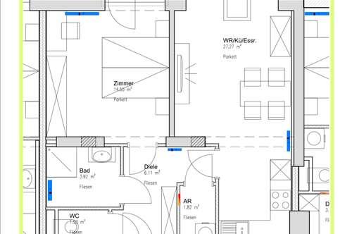 ab 01.12. ist diese neue großzügige 1 Zimmer Wohnung beziehbar . 55m2 mit Balkon