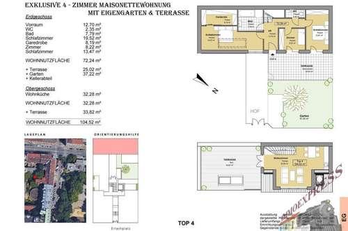 Exklusive 4 - Zimmer Maisonettewohnung mit Eigengarten & Terrasse ! Erstbezug!