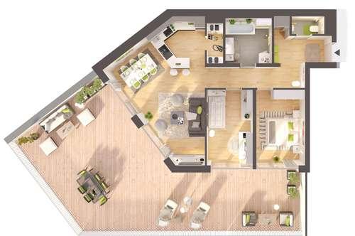 Provisionsfreie 3-Zimmer Neubau-Wohnung mit großer Terrasse
