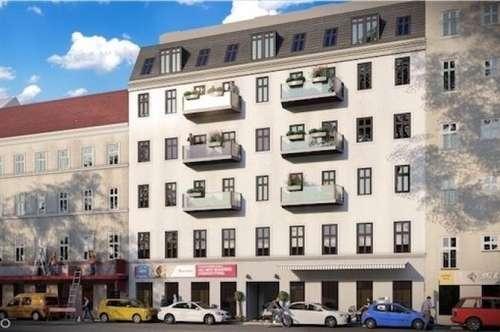 Zwei Balkone: Sonnige 2-Zimmerwohnung, Erstbezug in generalsaniertem Wohnhaus, Fussbodenheizung, belagsfertig (verschiedene Wohnungen in verschiedenen Größen), neben zukünftiger U2-Station Reinprechtsdorferstraße!