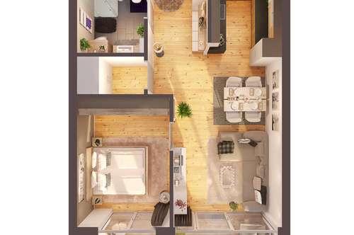 Provisionsfreie hochwertige 2-Zimmer Penthousewohnung mit Balkon, Neubau!