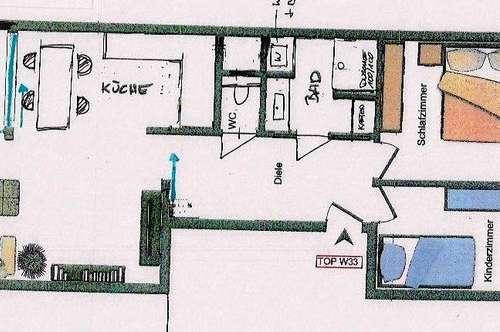 Hall-3 Zimmer Wohnung mit Südbalkon generalsaniert
