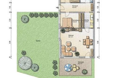 Dreizimmer Gartenwohnung - provisionsfreier Erstbezug ab sofort