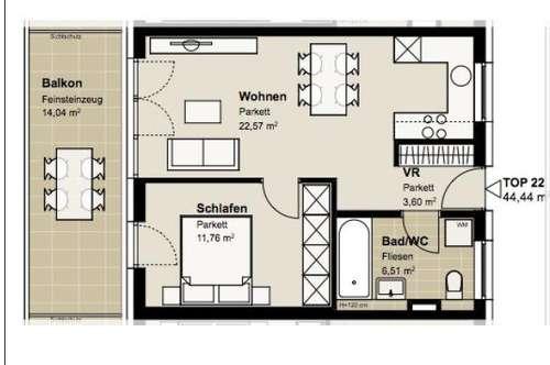 ERSTBEZUG! Wunderschöne 2 Zimmer Wohnung mit Balkon in der Nähe des ORF Parks!