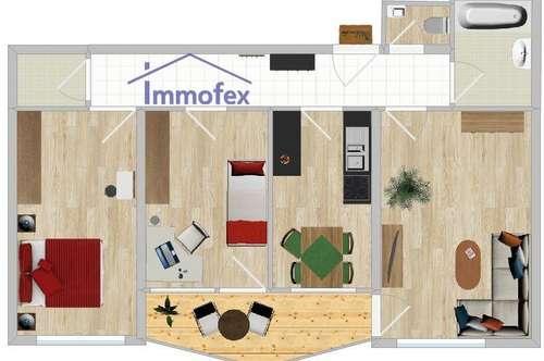 Helle 3-Zimmer Balkonwohnung mit Lift