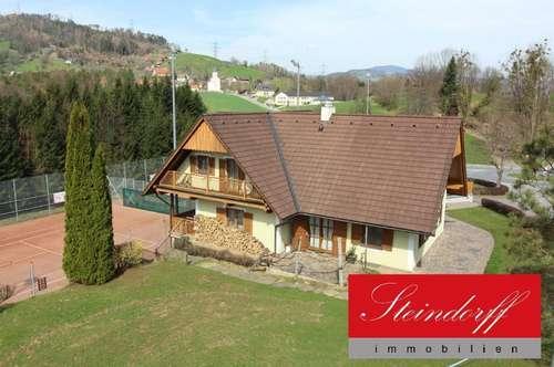 Stillgelegeter Gasthof mit Fremdenzimmer und einem Einfamilienhaus in schöner Aussicht und privatem Tennisplatz