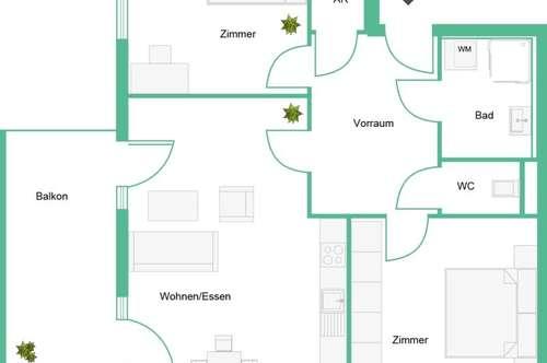 Helle, Süd/Ost gerichtete 3 Zimmer Wohnung mit Balkon - Provisionsfrei - ab sofort