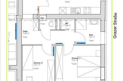62m2 moderne, helle und neue geförderte Mietwohnung. 2SZ - ab 01.12.
