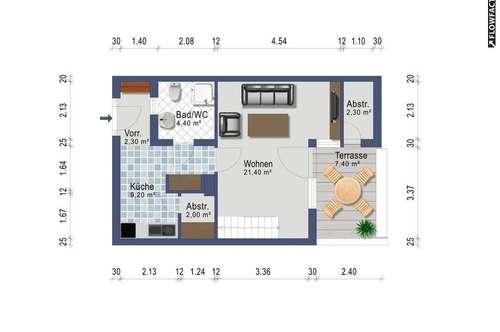 Zweizimmer Wohngalerie - provisionsfrei ab 1. Oktober - Heizkosten inklusive