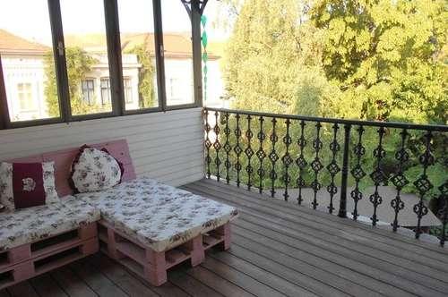 Geidorf Ruhelage mit Grünblick ALTBAU 2,5 ZI+ Wohnküche 16m² charmante Veranda+Balkon