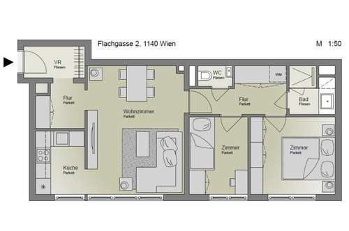 Neu Renovierte 3 Dachgeschoßwohnung mit Blick in den Innenhof