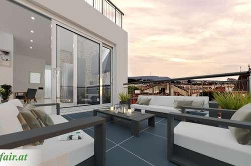 Blick über Wien! Traumhafte 3-Zimmer Dachgeschosswohnung mit Terrassen in Parklage!