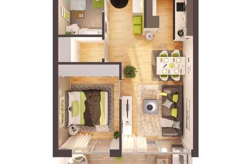 Provisionsfreie exklusive 2-Zimmer Neubau-Wohnung mit Balkon