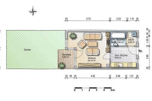 Gartenwohnung - 1,5 Zimmer - provisionsfreier Erstbezug ab sofort