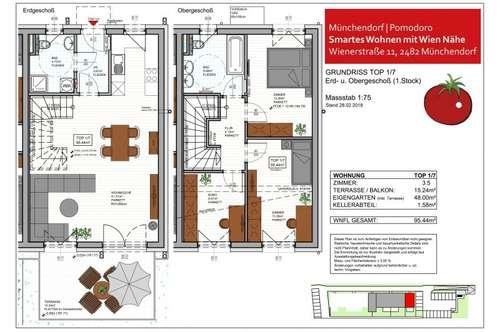 SMARTES WOHNEN im Wohnhausprojekt POMODORO, Münchendorf - 3,5-Zimmer-Maisonette-Wohnung Top 1/7 mit Eigengarten