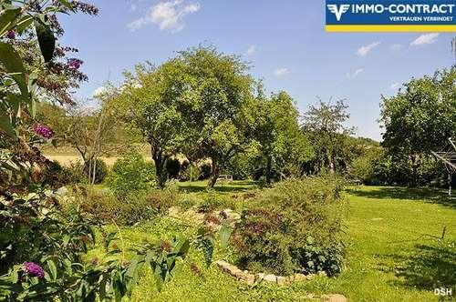 Eingezäuntes Bauland mit Grünland und Obstbestand