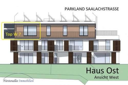 NEUBAUPROJEKT: PARKLAND SAALACHSTRASSE - 57 m² 2-Zi.-PENTHAUSWOHNUNG mit 6,5 m² Terrasse u. 14 m² Westbalkon Top W 7
