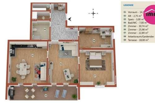 wunderschöne 120 m² Wohnung inkl. großer Loggia, eigenem Gartenanteil in einer Villa der Villenkolonie, von Wald und Wiese umgeben und doch so zentral