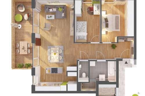 Sonnige 3-Zimmer-Wohnung mit großem Balkon