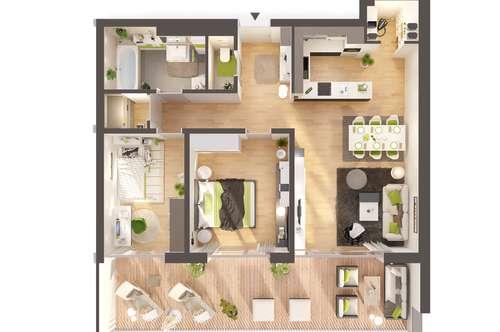 Provisionsfreie 3-Zimmer Neubau-Wohnung mit sonniger Terrasse