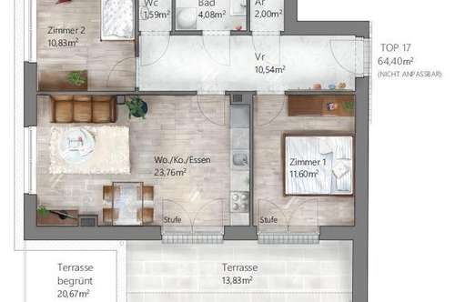 NEUBAUWOHNUNG: Helle 3-Zimmerwohnung in ruhiger Lage mit Blick ins Grüne