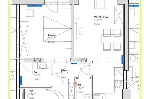ab 01.12. ist diese neue großzügige Wohnung beziehbar . 55m2 mit Balkon, einem Schlafzimmer.