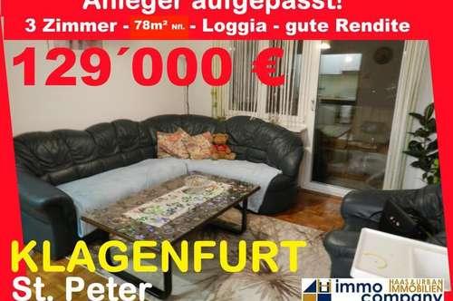 Anleger aufgepasst! Geräumige Stadtwohnung in Klagenfurt-St. Peter auf ca. 78 m² Wfl. inkl. Loggia
