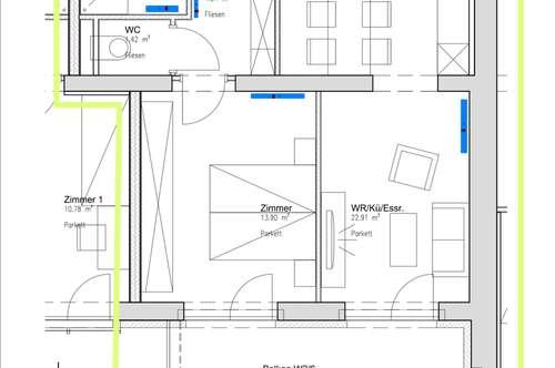 neue geförderte Mietwohnung, 50m2, 1 SZ, Balkon und Charme !