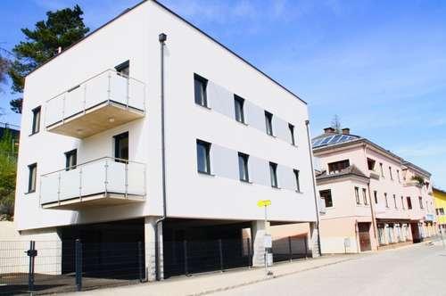 3 Zimmer Eigentum mit Balkon, Dachterrasse mit Gartenhaus und Werbetafel vor Ort
