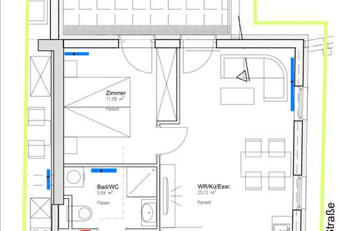 wunderschöne Wohnung mit 20m2 Terrasse - 1 Schlafzimmer, 45m2, Neubezug ab 01.12.2018