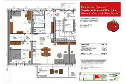 SMARTES WOHNEN im Wohnhausprojekt POMODORO, Münchendorf - 3-Zimmer-Wohnung Top 1/4 mit Balkon