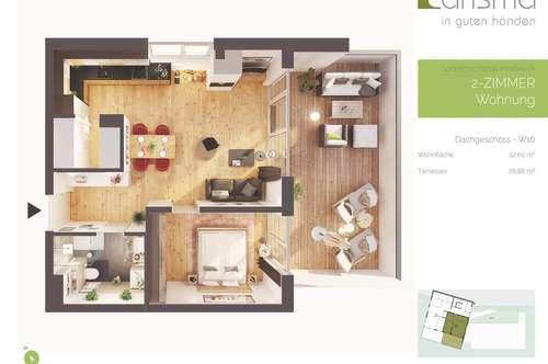 Provisionsfreie hochwertige 2-Zimmer Penthousewohnung mit Terrasse, Neubau!