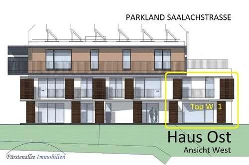 """NEUBAUPROJEKT: PARKLAND SAALACHSTRASSE - 100 m² """"REIHENHAUS""""/MAISONETTE-WOHNUNG mit 51 m² """"Privatkeller"""", 176 m² Eigengarten u. 7 m² Westbalkon Top W 1"""