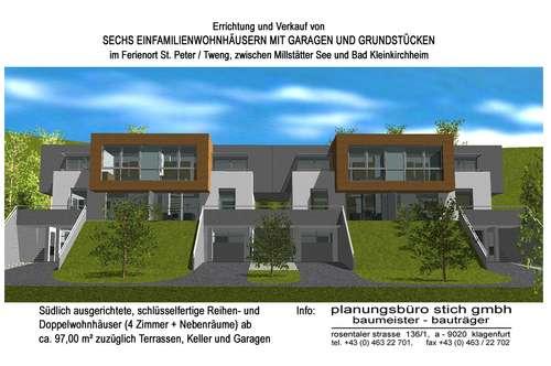 Neubau - Einfamilienwohnhäuser mit Garagen in St. Peter / Tweng, zwischen Millstätter See und Bad Kleinkirchheim