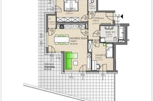 Sehr schöne 3 Zimmer Neubauwohnung in Klagenfurt, St. Martin