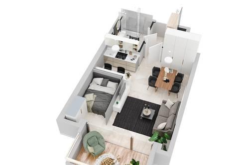 Für die perfekte Work-Live-Balance: Singlewohnung für Anspruchsvolle! Erstbezug - moderne Garconnieren mit Loggia und 1 Tiefgaragenstellplatz
