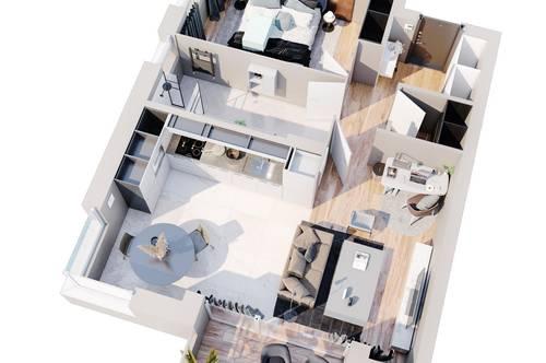 Exklusives Wohnen für Zwei! Erstbezug - moderne 2 Zimmer Wohnungen mit Loggia und 2 Tiefgaragenstellplätze