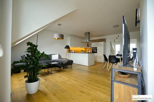 Exklusives Wohnen? Beeindruckende DG - Penthouse Wohnung mit Designer Bad & Tischlerküche SIEMENS - ca. 123 m² Fläche + Terrasse in Strasshof