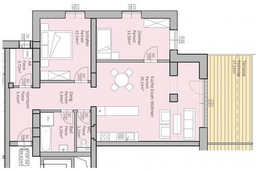 Großzügige, neue Seeblick-Wohnung mit 87 m² Wohnfläche und 17 m² Terrasse am Klopeiner See, TOP 4, 1.OG