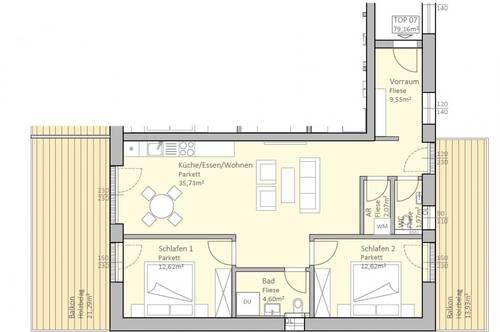 Sonnige, neue Seeblick-Wohnung mit 79 m² Wohnfläche und 35 m² Terrasse am Klopeiner See, TOP 7, 1. OG