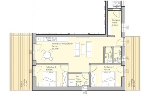 Sonnige, neue Seeblick-Wohnung mit 79 m² Wohnfläche und 35 m² Terrasse am Klopeiner See, Top 12, 2.OG