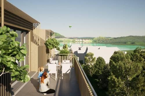 Helle NEUBAU-Eigentumswohnung am Klopeiner See mit ca. 68 m² Wohnfläche und ca. 26 m² Balkon, TOP 6, Haus 2, 1. OG