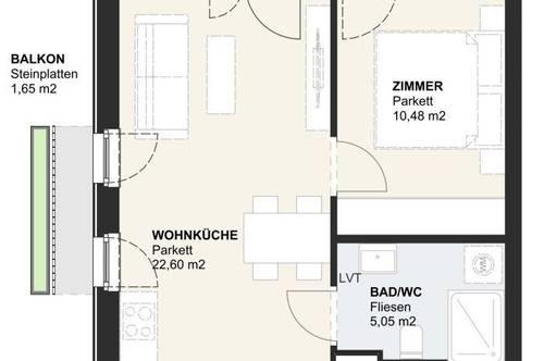 NEUBAU-Eigentumswohnung am Klopeiner See mit ca. 45 m² Wohnfläche und ca. 15 m² Balkon, TOP 7, Haus 2, 1. OG