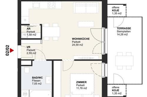 Neubau-Erdgeschosswohnung am Klopeiner See mit ca. 48 m² Wohnfläche und ca. 17 m² Terrasse, TOP 2, Haus 2, EG